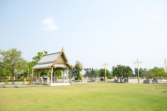 Thai pavilion in the grass with sky background. Thai pavilion in the grass Royalty Free Stock Photo