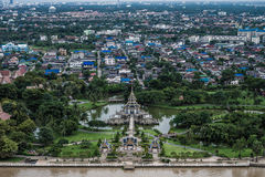Thai pavilion landscape. Landscape bird eye view of thai pavilion in the garden surrounding by the city Stock Photo