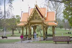 Thai pavilion in Lisbon. Golden thai pavilion in Vasco da Gama Garden of Lisbon, Portugal, at sunny summer day Stock Image