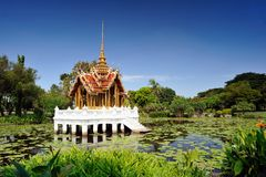 Thai pavilion in lotus pond at Suan Luang Rama I Stock Images