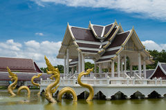 Thai pavilion. Middle the water Stock Photo