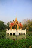 Thai pavilion on pond Royalty Free Stock Images