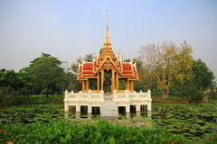 Thai pavilion on pond. Thai pavilion on lake at Suan Luang Rama 9 Of Thailand Stock Photos