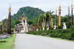 Thai pavilion style and pagoda models Stock Photo
