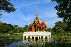 Thai pavillion in lotus pond in a park, Bangkok Stock Photography