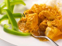 Thai peanut chicken curry with sliced green peppers Royalty Free Stock Photography
