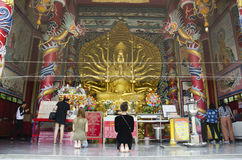 Thai peole praying Guanyin bodhisattva and Thousand Hands statue Royalty Free Stock Image
