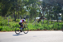 Thai people biking bicycle in race at Khao Yai Royalty Free Stock Images