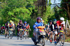 Thai people biking bicycle in race at Khao Yai Stock Photography