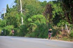 Thai people biking bicycle in race at Khao Yai Stock Images