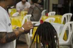 Thai people braiding hair at Khaosan Road Royalty Free Stock Image