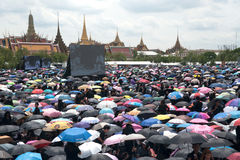 Thai people come for singing the anthem of His Majesty King. Stock Image