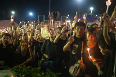 Thai people come for singing the anthem of His Majesty King Bhum Stock Photography