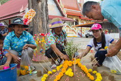 Thai people come to build the Sand Pagoda for return the sand to. TAPHAN HIN, PHICHIT, THAILAND - APRIL 18, 2017 : Thai people come to build the Sand Pagoda for Royalty Free Stock Photo