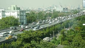 Thai people drive cars and trucks with traffic road on expressway stock video