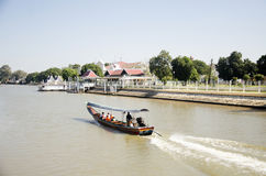 Thai people drive long tail boat bring travelers people tour around chao phraya river Stock Image
