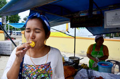 Thai people eating Champedak or Artocarpus integer Stock Photo