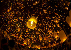 Thai people floating lamp Stock Image