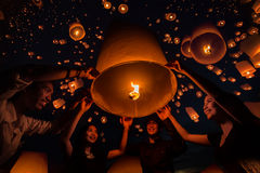 Thai people floating lamp. In Tudongkasatarn, Chiangmai, Thailand. Tudongkasatarn is where floating lamp ceremony takes place every year royalty free stock photography