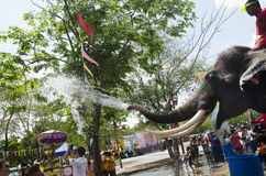 Thai people and foreigner travelers playing and splashing water with elephants and people in Songkran Festival at Ayutthaya. City on April 14, 2017 in Ayutthaya royalty free stock image
