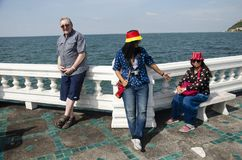 Thai people and foreigner travelers visit travel and posing for take photo at view point. In Laem Thaen Cape at Bang Saen Beach on January 2, 2017 in Chonburi royalty free stock photos