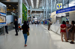 Thai people and foreiner traveller wait and walk at Suvarnabhumi Stock Photos