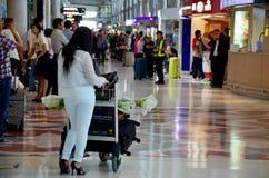 Thai people and foreiner traveller wait and walk at Suvarnabhumi Stock Image