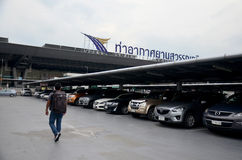 Thai people and foreiner traveller wait and walk at Suvarnabhumi. Airport Station on October 8, 2015 in Bangkok, Thailand Stock Photography
