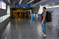 Thai people and foreiner traveller wait and walk at Suvarnabhumi. Airport Station on October 8, 2015 in Bangkok, Thailand Royalty Free Stock Photo