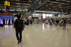Thai people and foreiner traveller wait and walk at Suvarnabhumi. Airport Station on October 8, 2015 in Bangkok, Thailand Stock Images