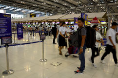 Thai people and foreiner traveller wait and walk at Suvarnabhumi Royalty Free Stock Photography