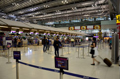Thai people and foreiner traveller wait and walk at Suvarnabhumi Stock Photography