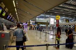 Thai people and foreiner traveller wait and walk at Suvarnabhumi Stock Photo
