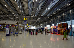 Thai people and foreiner traveller wait and walk at Suvarnabhumi Royalty Free Stock Images