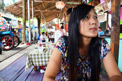 Thai people go to Bangnamphung Floating Market Royalty Free Stock Photography