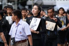 Thai people grieve over the demise of King Rama9 Royalty Free Stock Image