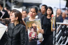 Thai people grieve over the demise of King Rama9 Stock Photography