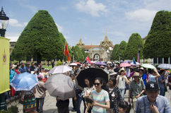 Thai people and group tour walking go to travel in side of Wat P Stock Photos