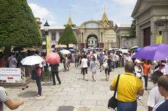 Thai people and group tour walking go to travel in side of Wat P Stock Image