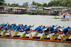 Thai people join with Long boat Racing Stock Photos