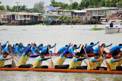 Thai people join with Long boat Racing Royalty Free Stock Photos