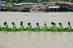 Thai people join with Long boat Racing Stock Photo