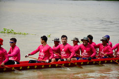 Thai people join with Long boat Racing Stock Image