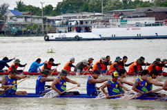 Thai people join with Long boat Racing Stock Images