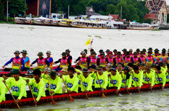 Thai people join match and competition in thailand traditional long boat racing festiva Royalty Free Stock Photos