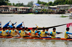 Thai people join match and competition in thailand traditional long boat racing festiva Royalty Free Stock Photo