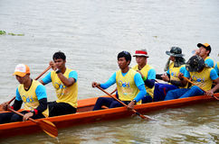 Thai people join match and competition in thailand traditional long boat racing festiva Stock Images