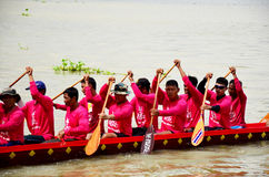 Thai people join match and competition in thailand traditional long boat racing festiva Stock Image