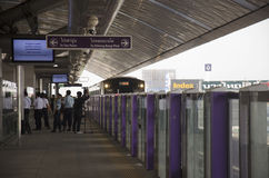 Thai people journey and wait MRT Purple Line skytrain go to Bang Royalty Free Stock Photo