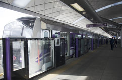 Thai people journey and wait MRT Purple Line skytrain go to Bang Royalty Free Stock Image